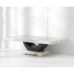 Memphis Marble Coffee Table Rectangular In Cream And Black
