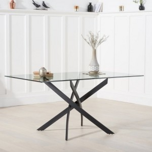 Panama Glass Dining Table Rectangular In Clear With Metal Legs