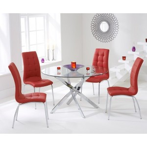 Panama Round Glass Dining Table With 4 Opal Red Dining Chairs