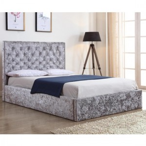 Yasmin Crushed Velvet Storage Double Bed In Silver