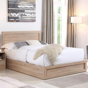 Yewtree Wooden Storage King Size Bed In Oak