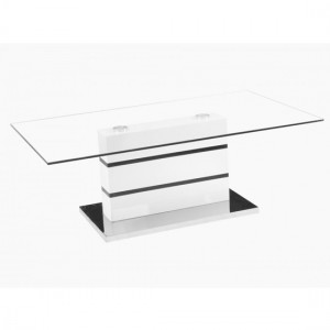 Yoki Clear Glass Coffee Table With White Gloss Support And Chrome Base