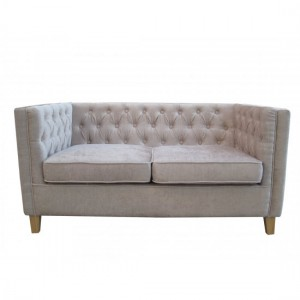 York Fabric Upholstered 2 Seater Sofa In Mink