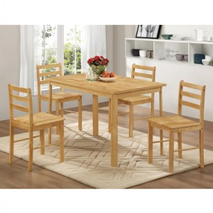 York Medium Wooden Dining Set In Natural Oak With 4 Chairs