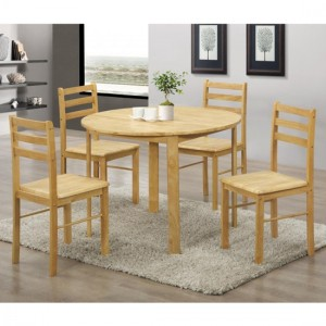 York Round Wooden Dining Set In Natural Oak With 4 Chairs