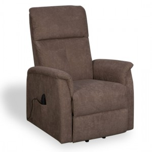 Yorke Carob Effect Fabric Recliner Chair In Brown