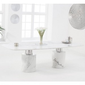 Santiago Marble Oval Top Dining Table In White Finish