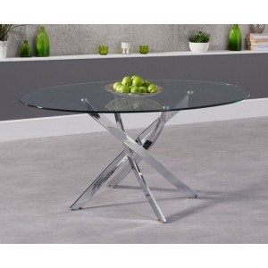 Panama Dining Table Oval In Clear Glass With Chrome Legs