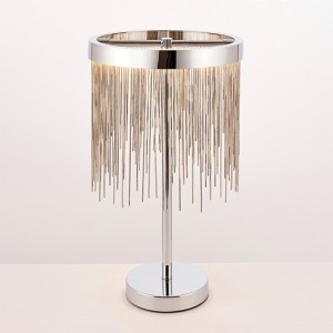 Zelma Waterfall Table Lamp In Polished Chrome And Silver
