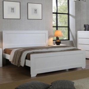 Zircon Wooden King Size Bed In White