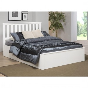 Zoe Solid Rubberwood Storage Double Bed In White