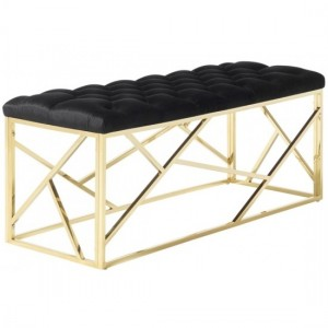 Zoey Black Velvet Bench With Polished Golden Base