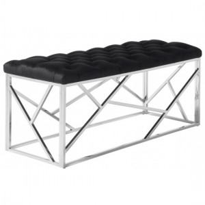 Zoey Black Velvet Bench With Polished Stainless Steel Base