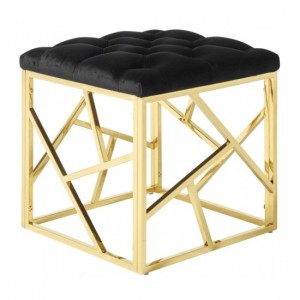 Zoey Black Velvet Stool With Polished Golden Base