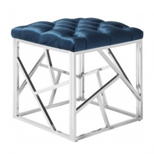 Zoey Blue Velvet Stool With Polished Stainless Steel Base
