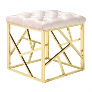 Zoey Pink Velvet Stool With Polished Golden Base