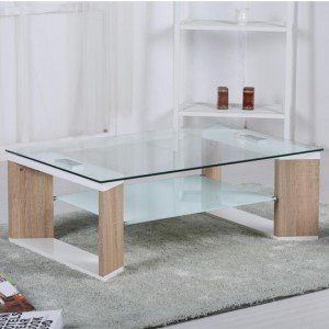 Zola Glass Coffee Table With Natural And White High Gloss Legs